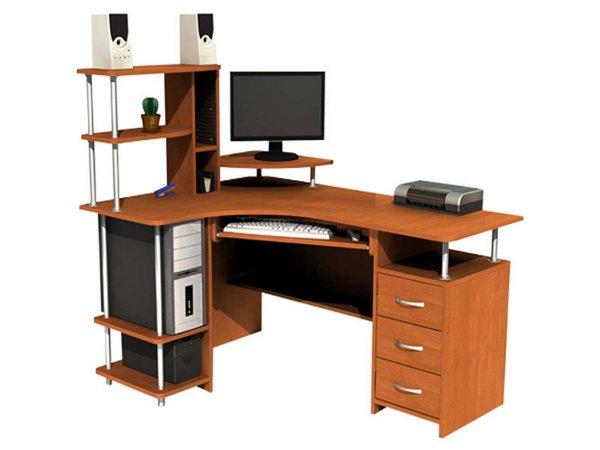 угловой компьютерный стол с надстройкой